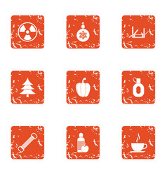 Purifying icons set grunge style vector