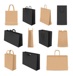 realistic shopping bags paper 3d bag mockup vector image