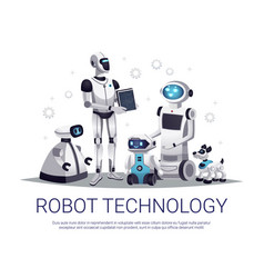 robot technology flat composition vector image