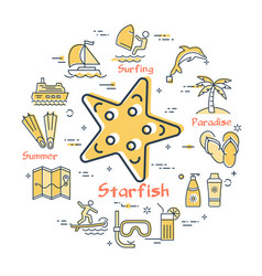 round concept of ctarfish and summer icons vector image