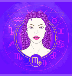 Scorpio zodiac sign and portrait vector