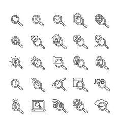 search signs black thin line icon set vector image