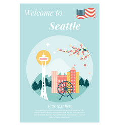 seattle city with landmarks vector image