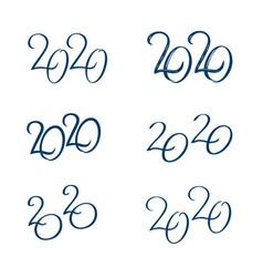 Set 2020 text design template vector