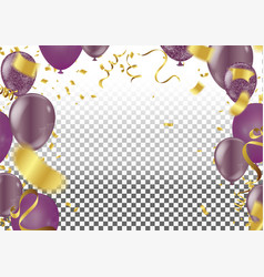 set air balls gold and purple balloons festive vector image
