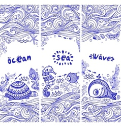Set banners with fish and shells vector