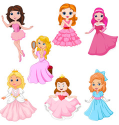 set cute cartoon princesses isolated vector image