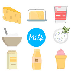 set milk icons in flat style on a white background vector image