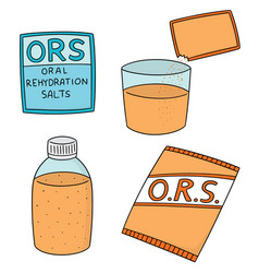 set of oral rehydration salt vector image