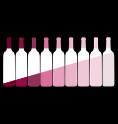 set wine bottles on a black background vector image