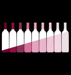 set wine bottles on a black background vector image
