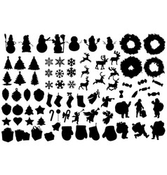 Set winter and christmas silhouettes christmas vector