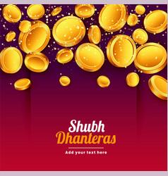 Shubh dhanteras falling golden coins festival vector