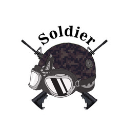 soldier text soldier helmet gun background vector image