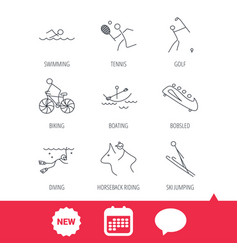 Swimming tennis and golf icons biking diving vector