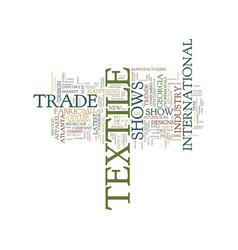 Textile trade shows text background word cloud vector