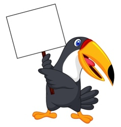 Toucan bird cartoon with blank sign vector image