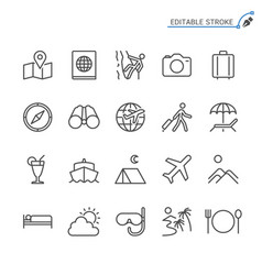 traveling line icons editable stroke vector image
