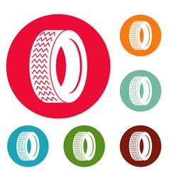 vehicle tire icons circle set vector image