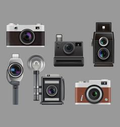 vintage cameras electronic gadgets retro photo vector image