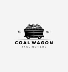Vintage mining wagon logo design vector