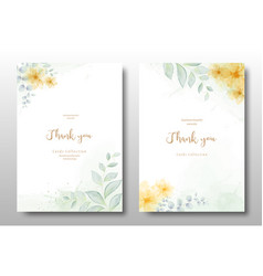 watercolor hand painted floral invitation card vector image