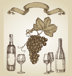 Wine set hand drawn a bottle of wine a glass and vector