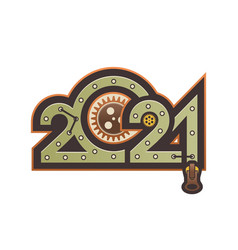 year digits 2021 mechanical logo vector image