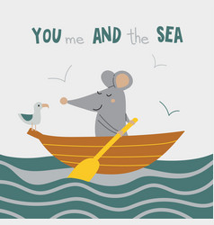 you me and sea card vector image