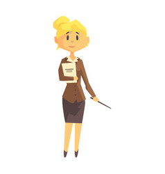 Young woman school teacher in classic outfit vector