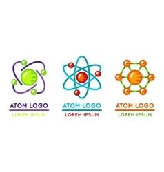 Atom logo set in flat style vector
