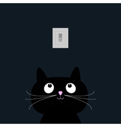 Black cat in the dark Tumbler on off switch Flat vector image vector image