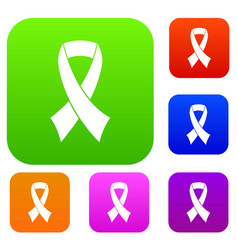 breast cancer awareness ribbon set collection vector image