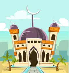 cartoon luxury great mosque building vector image vector image