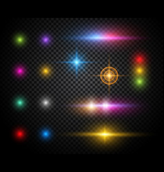 colorful sparkles light effects set vector image vector image