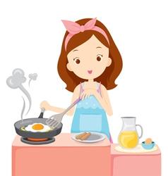 Girl Cooking Fried Egg For Breakfast vector image