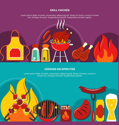 grill chiken and cooking on open fire flat vector image
