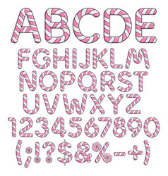 letters numbers and signs from pink sweets vector image vector image