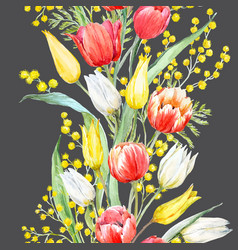 Watercolor mimosa and tulip pattern vector