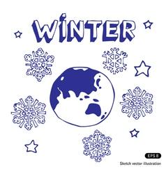 Winter earth vector