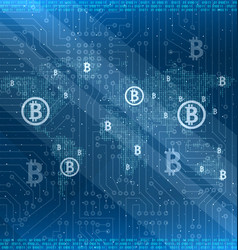 mining bitcoin cryptocurrency around the world vector image