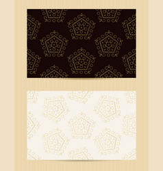 two sided business card golden ornamental design vector image