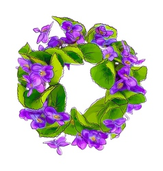 Wreath of woodland violets vector image vector image