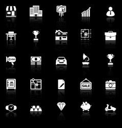 Asset and property icons with reflect on black vector image