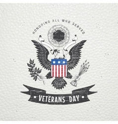 Happy veterans day Detailed elements Old retro vector image