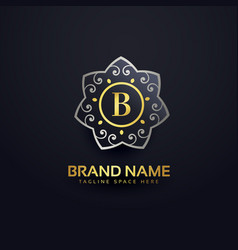 letter b logo design with floral element vector image