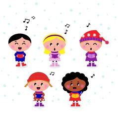 multicultural caroling kids vector image