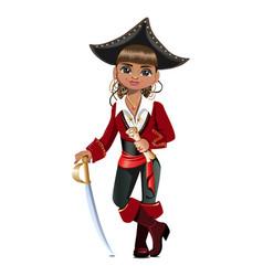 pretty girl pirate vector image