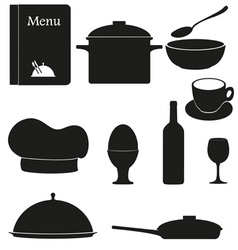 set kitchen icons for restaurant cooking black vector image vector image