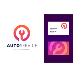 auto car service logo and business card template vector image